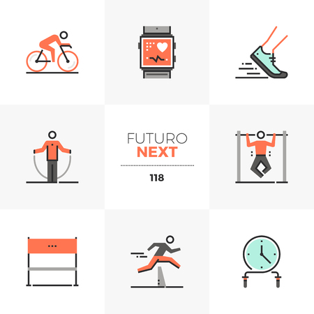 Modern flat icons set of high intensive training, triathlon competition. Unique color flat graphics elements with stroke lines. Premium quality vector pictogram concept for web, logo, branding, infographics.