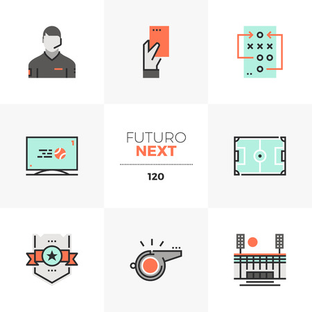 Modern flat icons set of playing soccer, professional football game. Unique color flat graphics elements with stroke lines. Premium quality vector pictogram concept for web, logo, branding, infographics. Ilustrace