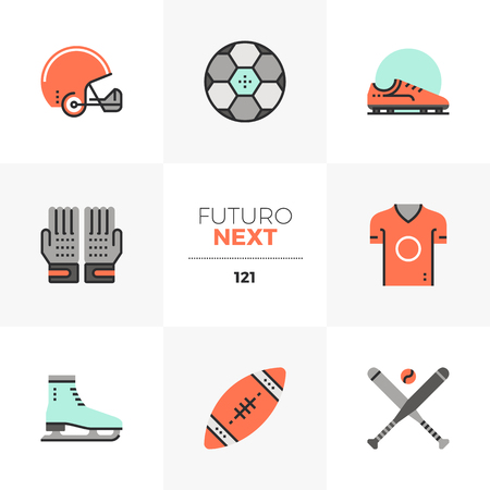 Modern flat icons set of professional sports object, various balls. Unique color flat graphics elements with stroke lines. Premium quality vector pictogram concept for web, logo, branding, infographics. Ilustrace
