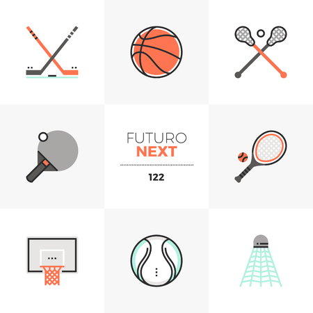 Modern flat icons set of professional sports equipment, various balls. Unique color flat graphics elements with stroke lines. Premium quality vector pictogram concept for web, logo, branding, infographics.