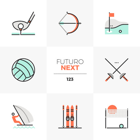 Modern flat icons set of recreational sports activity, outdoor sports. Unique color flat graphics elements with stroke lines. Premium quality vector pictogram concept for web, logo, branding, infographics. Vettoriali