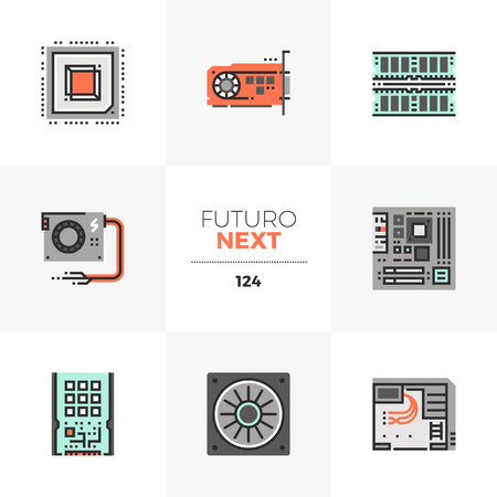 Nowoczesne płaskie ikony zestaw części i komponentów sprzętu komputerowego. Unikalne kolorowe płaskie elementy graficzne z liniami obrysu. Koncepcja piktogram wektor najwyższej jakości dla sieci web, logo, marki, infografiki. Logo