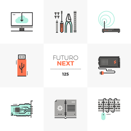 Modern flat icons set of computer upgrade service, installation tools. Unique color flat graphics elements with stroke lines. Premium quality vector pictogram concept for web,  branding, infographics.