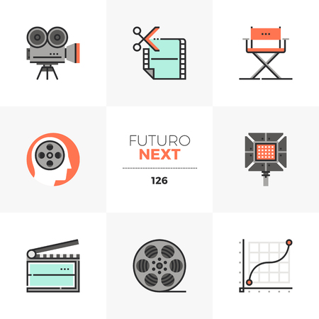 Modern flat icons set of film production, video making and editing. Unique color flat graphics elements with stroke lines. Premium quality vector pictogram concept for web, logo, branding, infographics.
