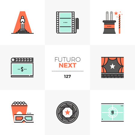 Modern flat icons set of film premiere, grand opening night ceremony. Unique color flat graphics elements with stroke lines. Premium quality vector pictogram concept for web,  branding, infographics. Ilustrace