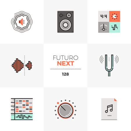 Modern flat icons set of sound production, digital audio making. Unique color flat graphics elements with stroke lines. Premium quality vector pictogram concept for web, logo, branding, infographics.