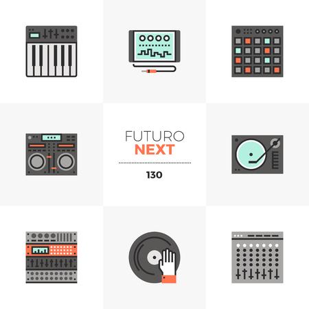 Conjunto de iconos planos modernos de hardware de estudio de sonido, síntesis de audio digital. Elementos gráficos planos de color único con líneas de trazo. Concepto de pictograma de vector de calidad premium para web, logotipo, marca, infografía.