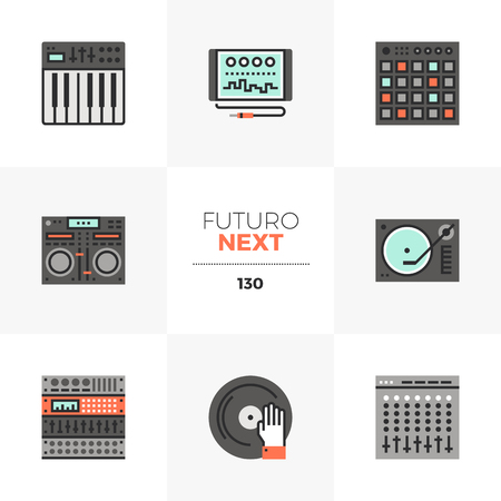 Modern flat icons set of sound studio hardware, digital audio synthesis. Unique color flat graphics elements with stroke lines. Premium quality vector pictogram concept for web, logo, branding, infographics.