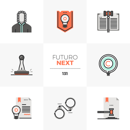 Modern flat icons set of invention patent law, court of justice. Unique color flat graphics elements with stroke lines. Premium quality vector pictogram concept for web, logo, branding, infographics. Ilustrace