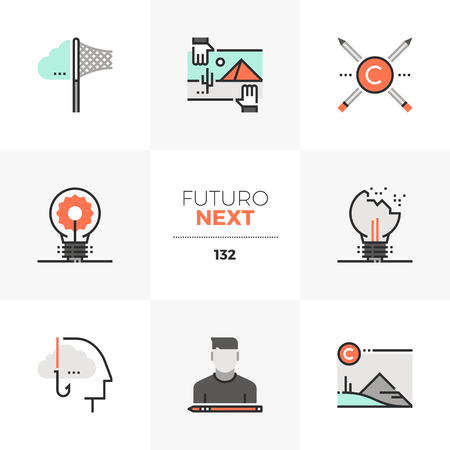 Modern flat icons set of intellectual property rights, stealing ideas. Unique color flat graphics elements with stroke lines. Premium quality vector pictogram concept for web, logo, branding, infographics.
