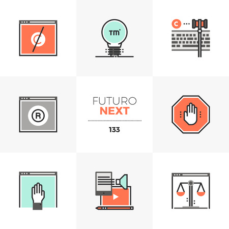 Modern flat icons set of trademark registration, open content policy. Unique color flat graphics elements with stroke lines. Premium quality vector pictogram concept for web, logo, branding, infographics. Ilustrace