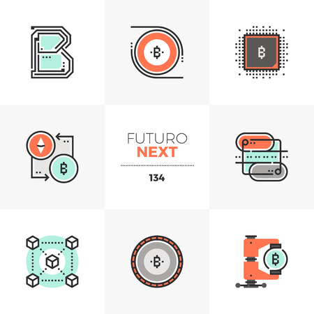 Modern flat icons set of blockchain technology, crypto currency flow. Unique color flat graphics elements with stroke lines. Premium quality vector pictogram concept for web,  branding, infographics. Ilustrace