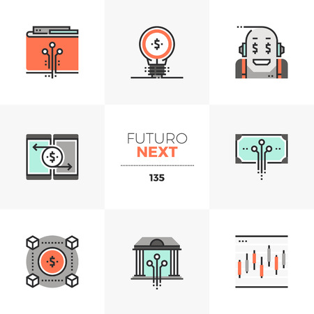 Modern flat icons set of fintech industry, future financial technology. Unique color flat graphics elements with stroke lines. Premium quality vector pictogram concept for web, branding, infographics. Ilustrace