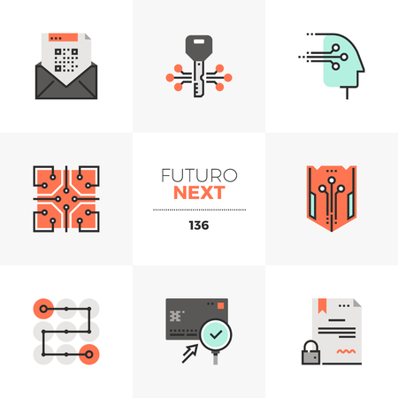 Modern flat icons set of distributed database security, cryptography tech. Unique color flat graphics elements with stroke lines. Premium quality vector pictogram concept for web, logo, branding, infographics.