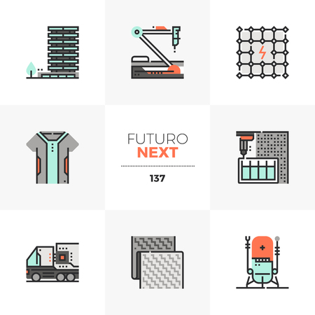 Modern flat icons set of new textile, autonomous truck, hi-tech nanorobotics. Unique color flat graphics elements with stroke lines. Premium quality vector pictogram concept for web, logo, infographics.