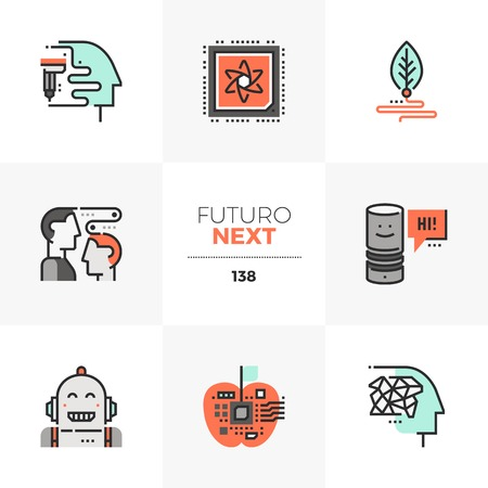 Modern flat icons set of emerging technologies, future of cognitive science. Unique color flat graphics elements with stroke lines. Premium quality vector pictogram concept for web, logo, infographics. Ilustrace