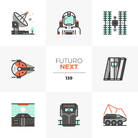 Modern flat icons set of space mission, spaceship travel, radio signal. Unique color flat graphics elements with stroke lines. Premium quality vector pictogram concept for web, logo, infographics. Ilustrace