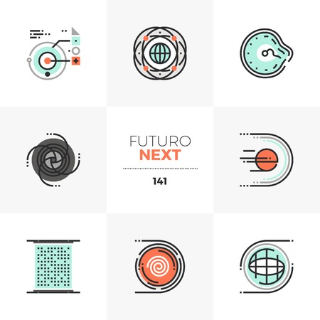 Modern flat icons set of science fiction elements of abstract space technology. Unique color flat graphics elements with stroke lines. Premium quality vector pictogram concept for web, logo, infographics.