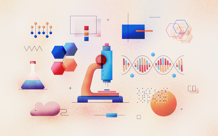 Genomic analysis of DNA sequence in laboratory. Bioinformatics research for biological information. Data science technology development. Modern flat design illustration concept on textured background. Reklamní fotografie