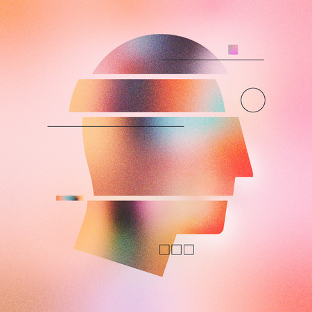 Digital illustration of abstract human head with sections and lines. Made with vector vibrant color gradient geometry form. Minimalist textured graphic artwork for wallpaper, web art and presentation. Stock Photo