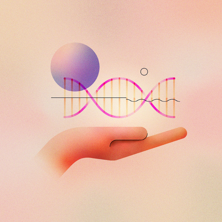 Digital illustration of genetic engineering concept and gene editing. Human hand holding helix strand with abstract molecule. Made with vector vibrant color gradient geometry form.
