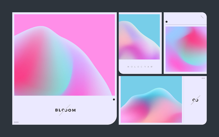 Minimal abstract vector of gradient mesh with holographic effect on mockup layout frame kit.
