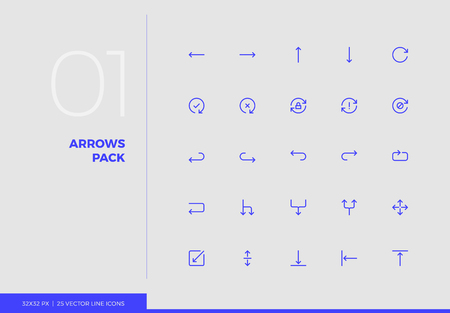 Simple line icons pack of arrows and UI control elements.