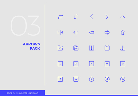 Simple line icons pack of arrows and UI control elements. Vector pictogram set for mobile phone user interface design, UX infographics, web apps, business presentation. Sign and symbol collection. Stok Fotoğraf - 124762997