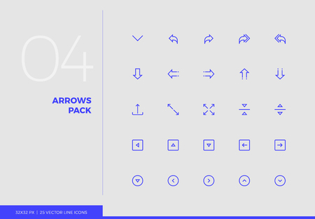 Simple line icons pack of arrows and UI control elements. Vector pictogram set for mobile phone user interface design, UX infographics, web apps, business presentation. Sign and symbol collection. Ilustracja