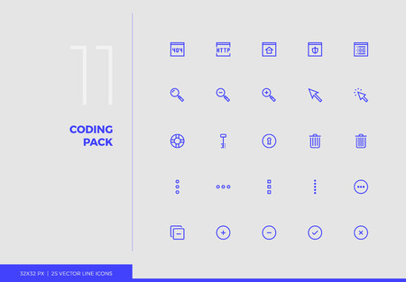 Simple line icons pack of website development key tools. Vector pictogram set for mobile phone user interface design, UX infographics, web apps, business presentation. Sign and symbol collection. Ilustracja