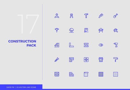 Simple line icons pack of construction tools, work instruments. Vector pictogram set for mobile phone user interface design, UX infographics, web apps, business presentation. Sign and symbol collection.
