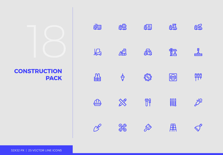Simple line icons pack of heavy construction, industry transport. Vector pictogram set for mobile phone user interface design, UX infographics, web apps, business presentation. Sign and symbol collect
