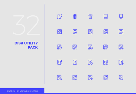 Simple line icons pack of computer disk utility system files. Vector pictogram set for mobile phone user interface design, UX infographics, web apps, business presentation. Sign and symbol collection.