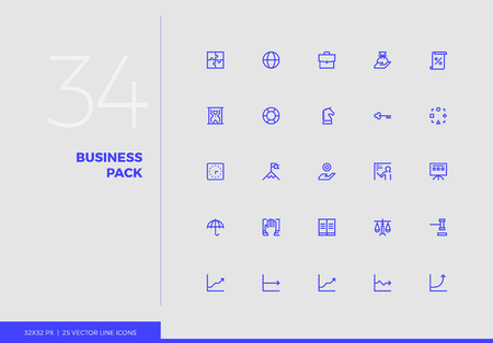 Simple line icons pack of business production, corporate firm. Vector pictogram set for mobile phone user interface design, UX infographics, web apps, business presentation. Sign and symbol collection. Ilustracja