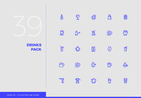 Simple line icons pack of coffee shop service, alcoholic drinks. Vector pictogram set for mobile phone user interface design, UX infographics, web apps, business presentation. Sign and symbol collection. Ilustracja