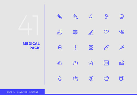 Simple line icons pack of healthcare medical center elements. Vector pictogram set for mobile phone user interface design, UX infographics, web apps, business presentation. Sign and symbol collection.