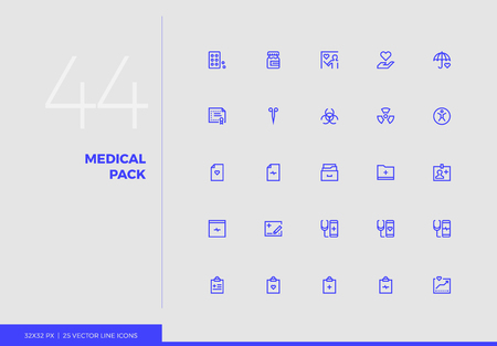 Simple line icons pack of medical mobile healthcare technology. Vector pictogram set for mobile phone user interface design, UX infographics, web apps, business presentation. Sign and symbol collection. Ilustrace