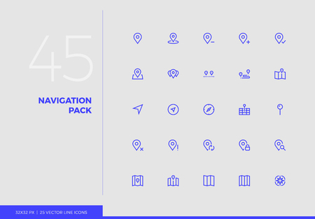 Simple line icons pack of map navigation pins, cartography marks. Vector pictogram set for mobile phone user interface design, UX infographics, web apps, business presentation. Sign and symbol collection.