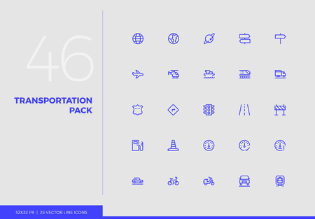 Simple line icons pack of transportation vehicles, road traffic. Vector pictogram set for mobile phone user interface design, UX infographics, web apps, business presentation. Sign and symbol collection.