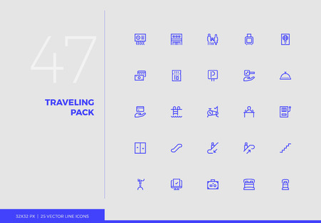 Simple line icons pack of family vacation trip, hotel services. Vector pictogram set for mobile phone user interface design, UX infographics, web apps, business presentation. Sign and symbol collection.