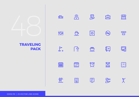 Simple line icons pack of tourist vacation trip, hotel services. Vector pictogram set for mobile phone user interface design, UX infographics, web apps, business presentation. Sign and symbol collecti 일러스트