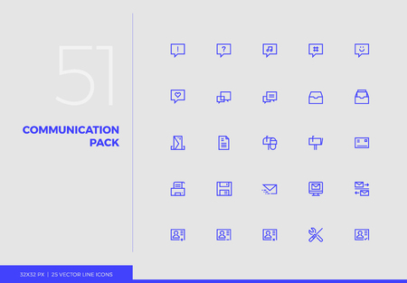 Simple line icons pack of internet communication, sending files. Vector pictogram set for mobile phone user interface design, UX infographics, web apps, business presentation. Sign and symbol collection.