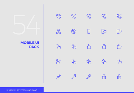 Simple line icons pack of smartphone user interface control. Vector pictogram set for mobile phone user interface design, UX infographics, web apps, business presentation. Sign and symbol collection. 일러스트