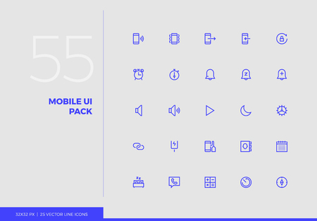 Simple line icons pack of smartphone user interface control. Vector pictogram set for mobile phone user interface design, UX infographics, web apps, business presentation. Sign and symbol collection. Ilustracja