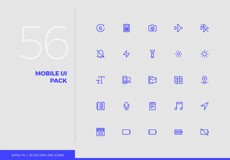 Simple line icons pack of smartphone user interface control. Vector pictogram set for mobile phone user interface design, UX infographics, web apps, business presentation. Sign and symbol collection. Ilustrace