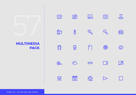 Simple line icons pack of photo, video, multimedia elements. Vector pictogram set for mobile phone user interface design, UX infographics, web apps, business presentation. Sign and symbol collection. Ilustracja
