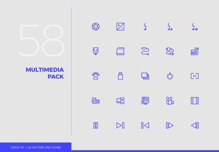 Einfache Linie Icons Pack von Fotoausrüstung, Videoelementen. Vektor-Piktogramm-Set für das Design der Benutzeroberfläche von Mobiltelefonen, UX-Infografiken, Web-Apps, Geschäftspräsentation. Zeichen- und Symbolsammlung. Vektorgrafik