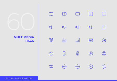 Simple line icons pack of audio and multimedia control elements. Vector pictogram set for mobile phone user interface design, UX infographics, web apps, business presentation. Sign and symbol collecti
