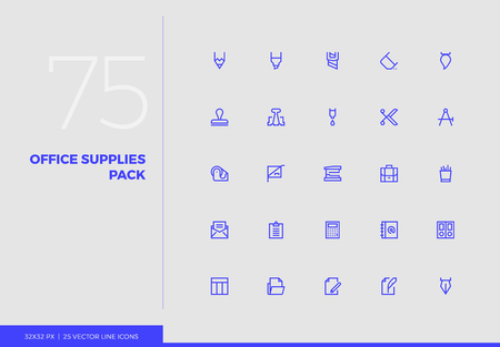 Simple line icons pack of office supplies, business stationery. Vector pictogram set for mobile phone user interface design, UX infographics, web apps, business presentation. Sign and symbol collection. Ilustracja