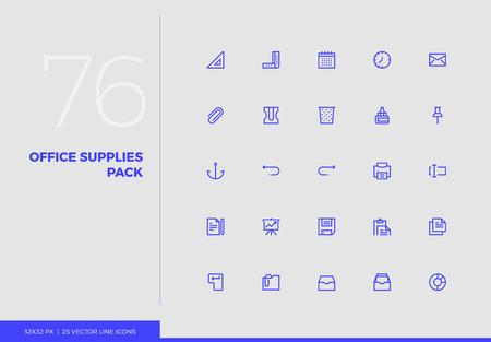 Pack d'icônes de ligne simple de fournitures de bureau, papeterie d'affaires. Ensemble de pictogrammes vectoriels pour la conception d'interface utilisateur de téléphone portable, infographies UX, applications Web, présentation d'entreprise. Collection de signes et de symboles.